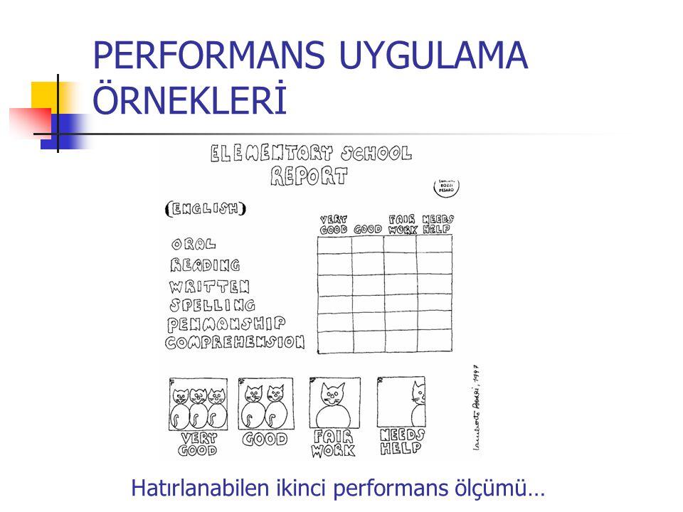 PERFORMANS UYGULAMA ÖRNEKLERİ Hatırlanabilen ikinci performans ölçümü…