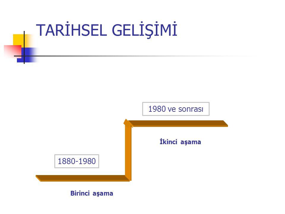 TARİHSEL GELİŞİMİ 1880-1980 İkinci aşama Birinci aşama 1980 ve sonrası