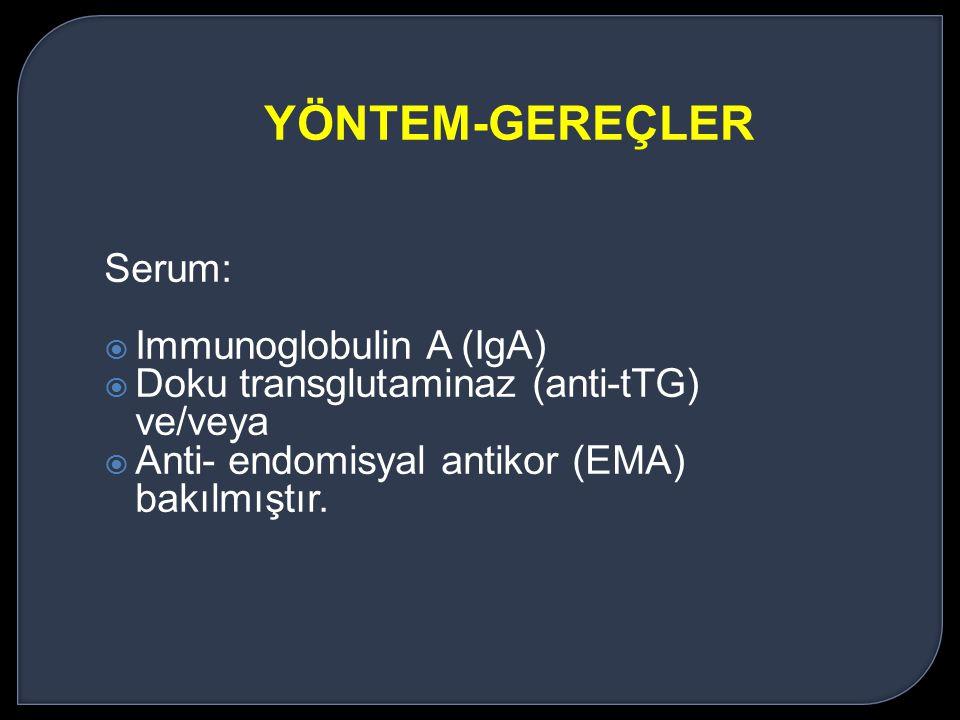 Serum:  Immunoglobulin A (IgA)  Doku transglutaminaz (anti-tTG) ve/veya  Anti- endomisyal antikor (EMA) bakılmıştır. YÖNTEM-GEREÇLER