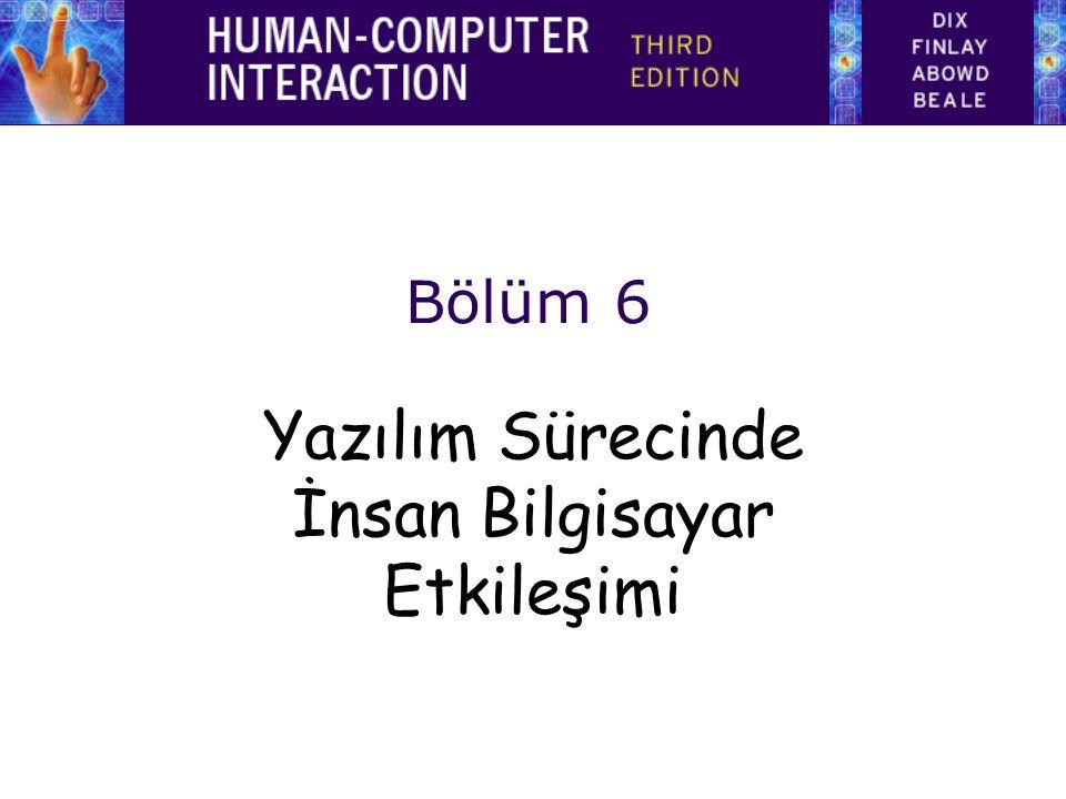 Bölüm 6 Yazılım Sürecinde İnsan Bilgisayar Etkileşimi