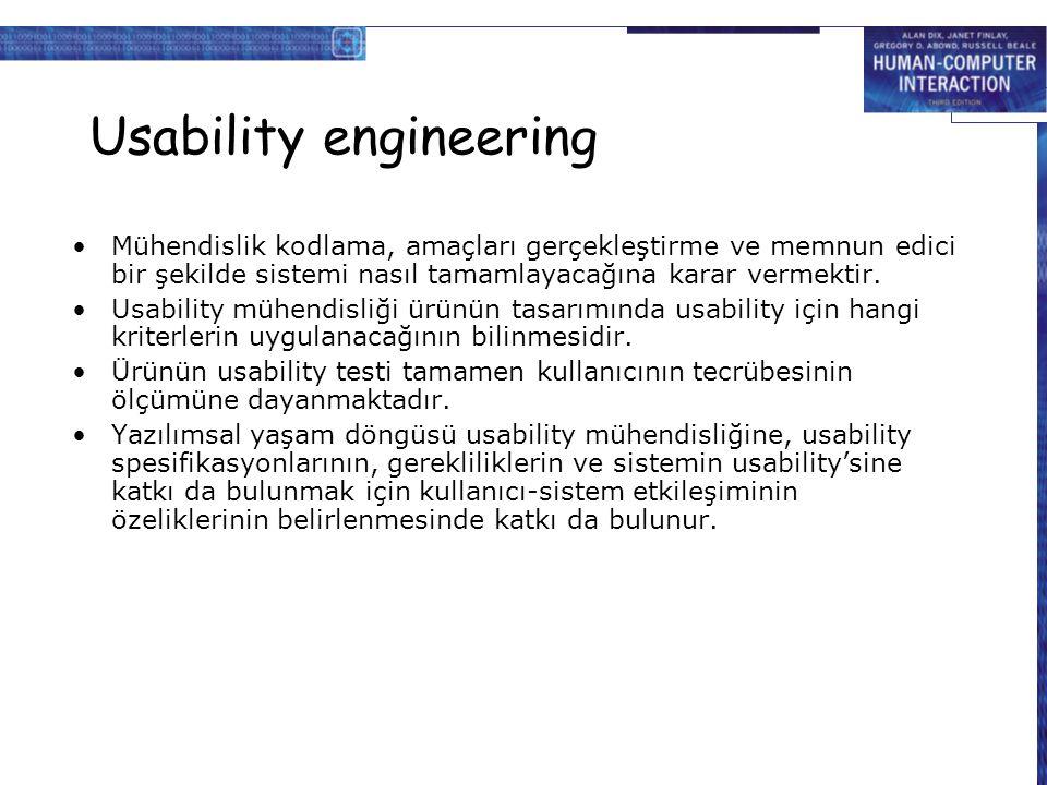 Usability engineering Mühendislik kodlama, amaçları gerçekleştirme ve memnun edici bir şekilde sistemi nasıl tamamlayacağına karar vermektir. Usabilit