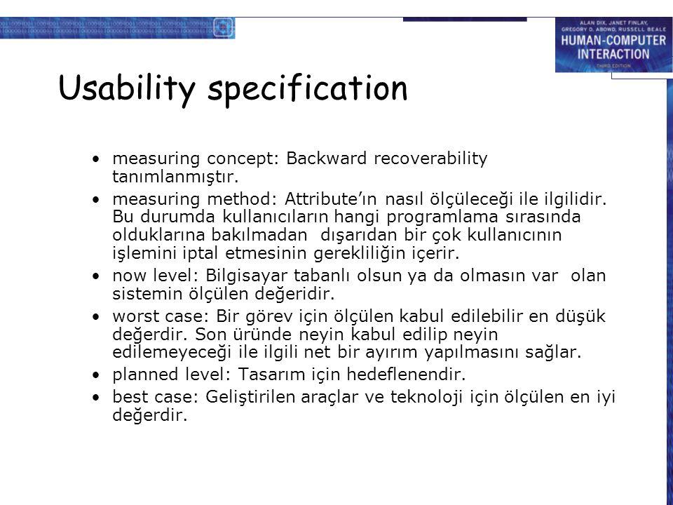 Usability specification measuring concept: Backward recoverability tanımlanmıştır. measuring method: Attribute'ın nasıl ölçüleceği ile ilgilidir. Bu d