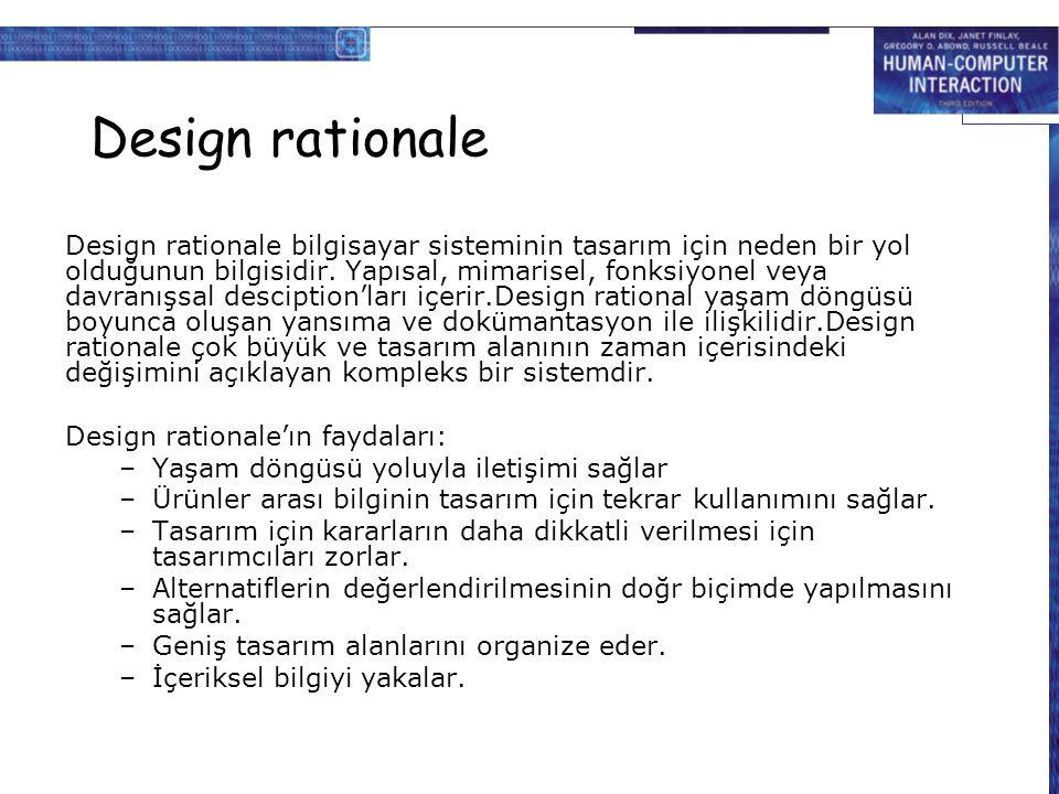 Design rationale Design rationale bilgisayar sisteminin tasarım için neden bir yol olduğunun bilgisidir. Yapısal, mimarisel, fonksiyonel veya davranış