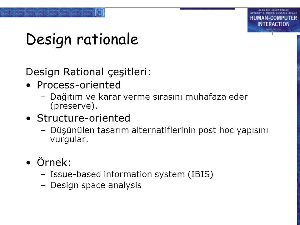 Design rationale Design Rational çeşitleri: Process-oriented –Dağıtım ve karar verme sırasını muhafaza eder (preserve). Structure-oriented –Düşünülen