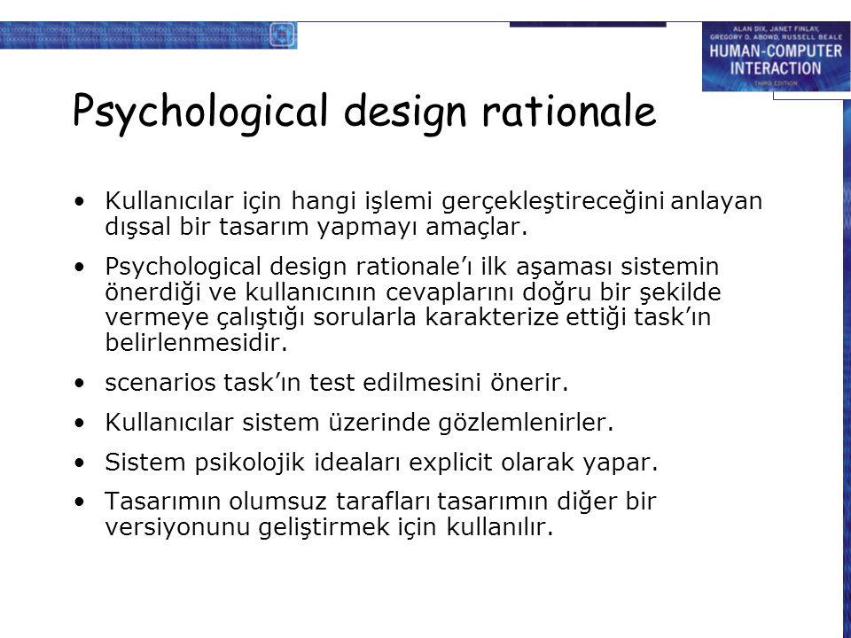 Psychological design rationale Kullanıcılar için hangi işlemi gerçekleştireceğini anlayan dışsal bir tasarım yapmayı amaçlar. Psychological design rat