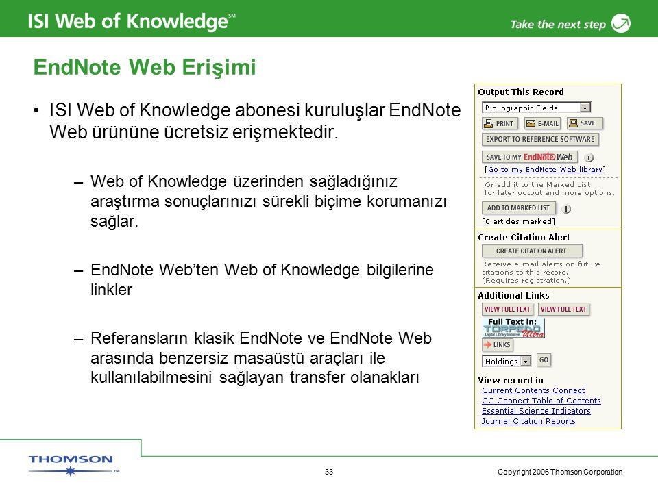 Copyright 2006 Thomson Corporation 33 EndNote Web Erişimi ISI Web of Knowledge abonesi kuruluşlar EndNote Web ürününe ücretsiz erişmektedir.