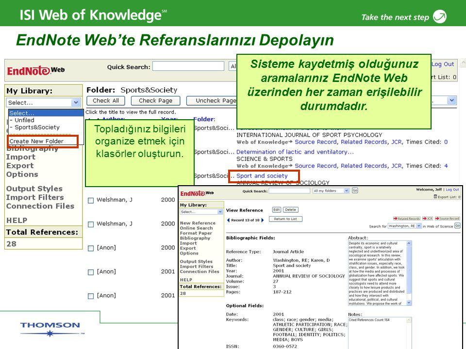 Copyright 2006 Thomson Corporation 35 EndNote Web'te Referanslarınızı Depolayın Sisteme kaydetmiş olduğunuz aramalarınız EndNote Web üzerinden her zaman erişilebilir durumdadır.