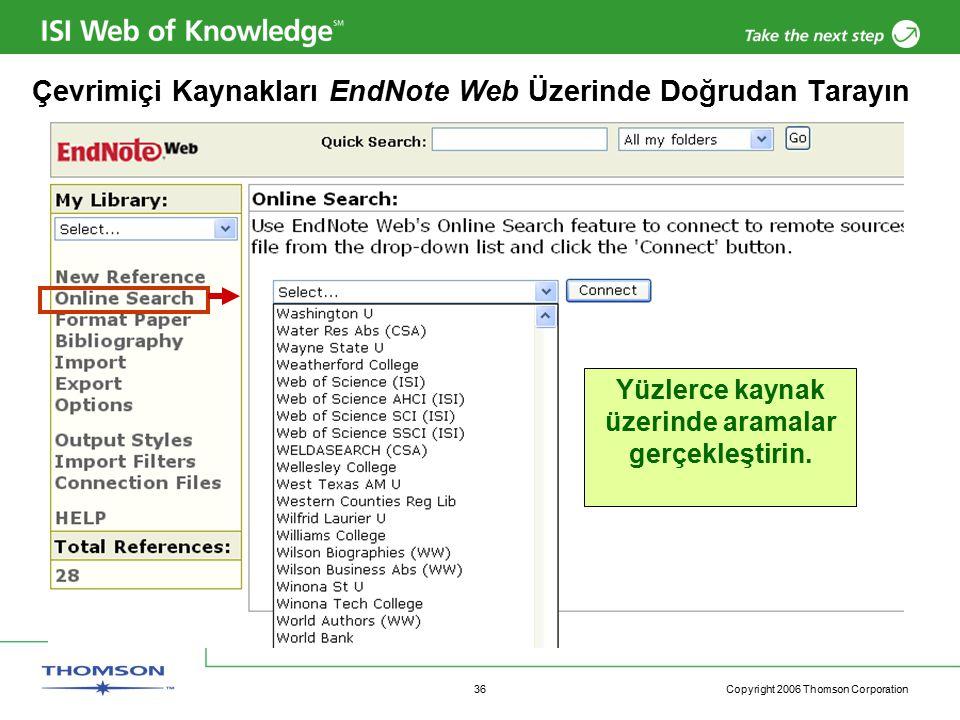 Copyright 2006 Thomson Corporation 36 Çevrimiçi Kaynakları EndNote Web Üzerinde Doğrudan Tarayın Yüzlerce kaynak üzerinde aramalar gerçekleştirin.