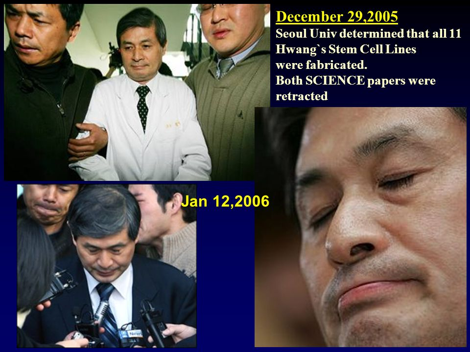 December 29,2005 Seoul Univ determined that all 11 Hwang`s Stem Cell Lines were fabricated. Both SCIENCE papers were retracted Jan 12,2006