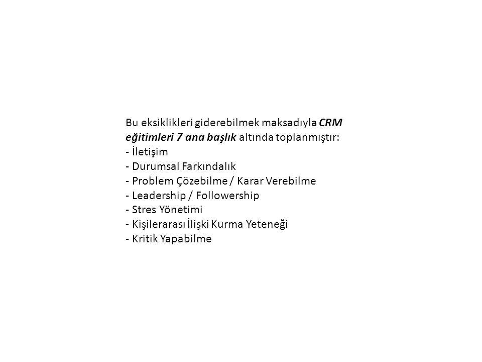 Bu eksiklikleri giderebilmek maksadıyla CRM eğitimleri 7 ana başlık altında toplanmıştır: - İletişim - Durumsal Farkındalık - Problem Çözebilme / Karar Verebilme - Leadership / Followership - Stres Yönetimi - Kişilerarası İlişki Kurma Yeteneği - Kritik Yapabilme