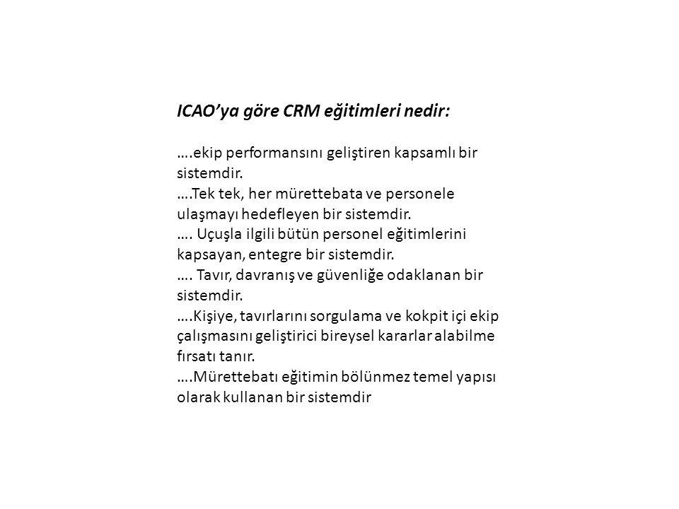 ICAO' ya göre CRM eğitimleri ne değildir: …Kısa süre içerisinde anlaşılıp uygulamaya geçirilebilecek bir olgu değildir.