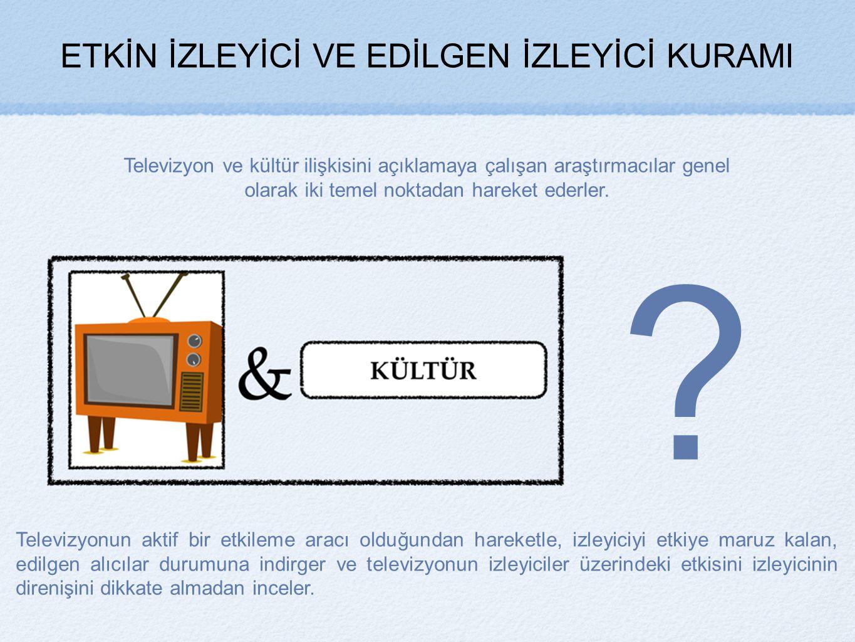 ETKİN İZLEYİCİ VE EDİLGEN İZLEYİCİ KURAMI Televizyon ve kültür ilişkisini açıklamaya çalışan araştırmacılar genel olarak iki temel noktadan hareket ederler.