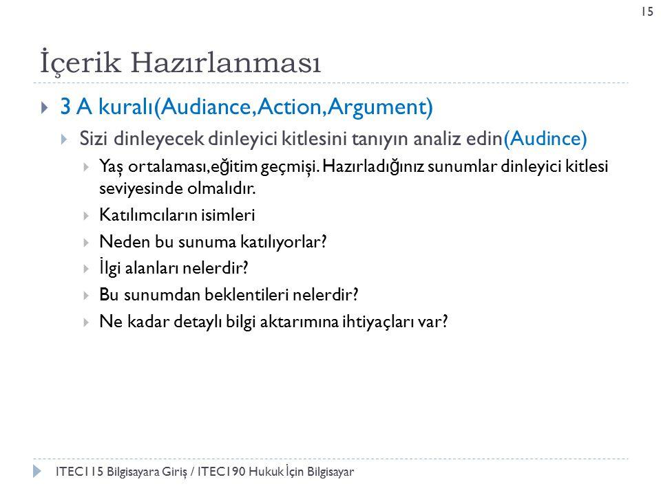 İçerik Hazırlanması  3 A kuralı(Audiance,Action, Argument)  Sizi dinleyecek dinleyici kitlesini tanıyın analiz edin(Audince)  Yaş ortalaması,e ğ itim geçmişi.