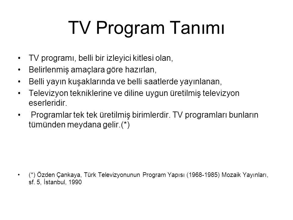 TV Program Tanımı TV programı, belli bir izleyici kitlesi olan, Belirlenmiş amaçlara göre hazırlan, Belli yayın kuşaklarında ve belli saatlerde yayınl