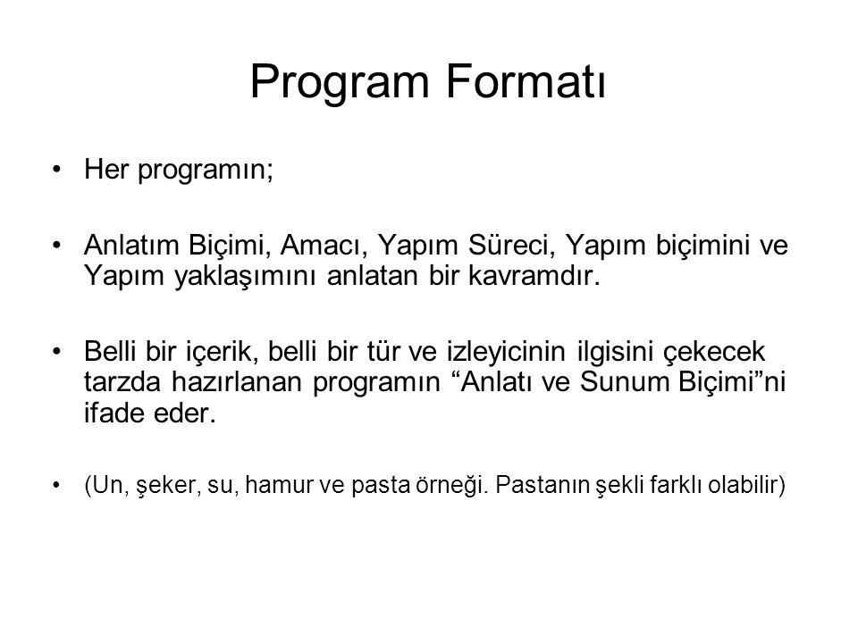 Program Formatı Her programın; Anlatım Biçimi, Amacı, Yapım Süreci, Yapım biçimini ve Yapım yaklaşımını anlatan bir kavramdır. Belli bir içerik, belli