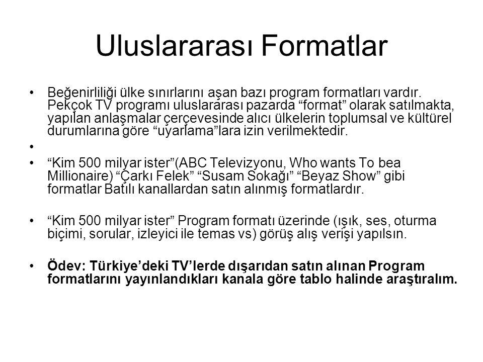 """Uluslararası Formatlar Beğenirliliği ülke sınırlarını aşan bazı program formatları vardır. Pekçok TV programı uluslararası pazarda """"format"""" olarak sat"""