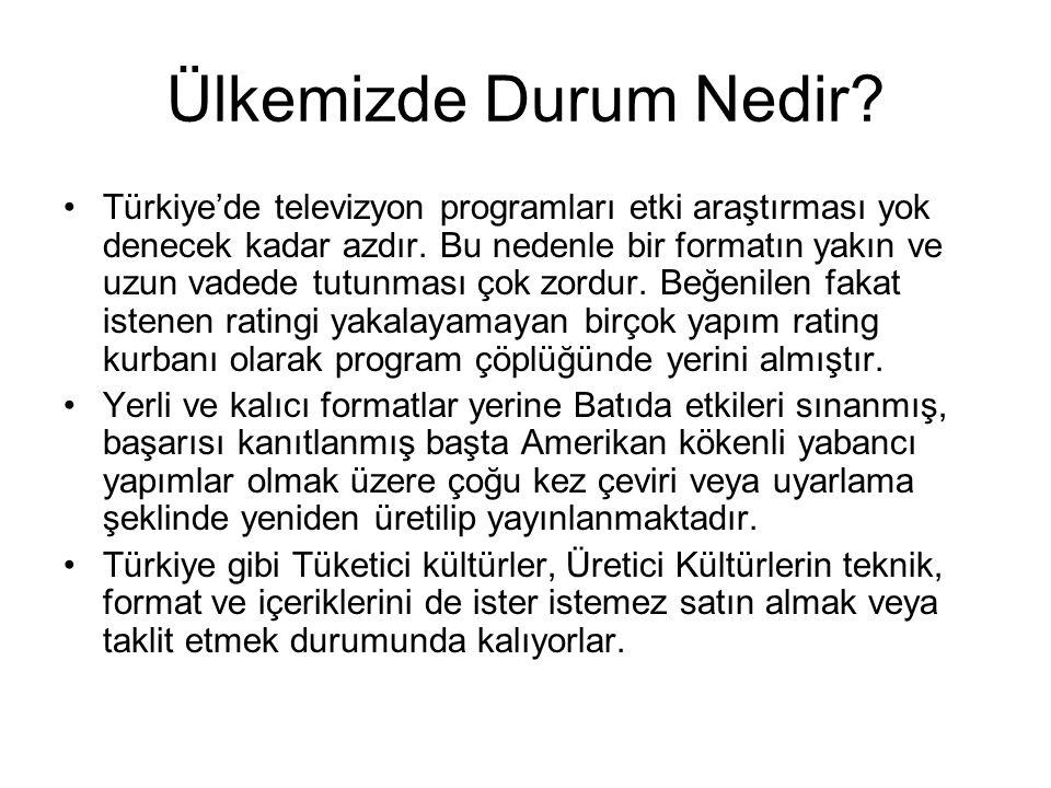Ülkemizde Durum Nedir? Türkiye'de televizyon programları etki araştırması yok denecek kadar azdır. Bu nedenle bir formatın yakın ve uzun vadede tutunm