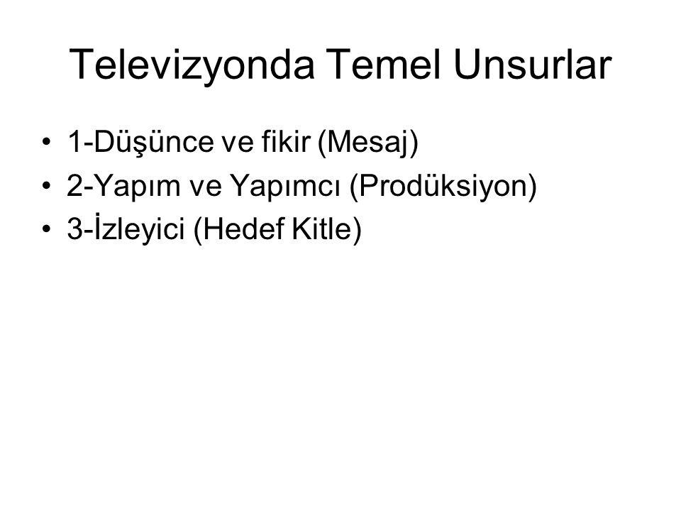Televizyonda Temel Unsurlar 1-Düşünce ve fikir (Mesaj) 2-Yapım ve Yapımcı (Prodüksiyon) 3-İzleyici (Hedef Kitle)
