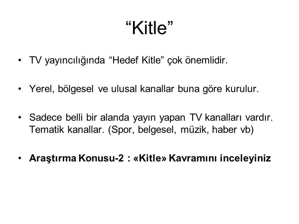 """""""Kitle"""" TV yayıncılığında """"Hedef Kitle"""" çok önemlidir. Yerel, bölgesel ve ulusal kanallar buna göre kurulur. Sadece belli bir alanda yayın yapan TV ka"""