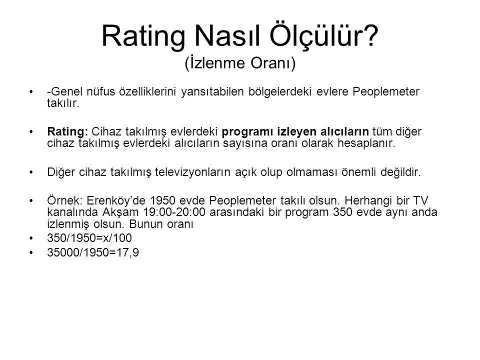 Rating Nasıl Ölçülür? (İzlenme Oranı) -Genel nüfus özelliklerini yansıtabilen bölgelerdeki evlere Peoplemeter takılır. Rating: Cihaz takılmış evlerdek