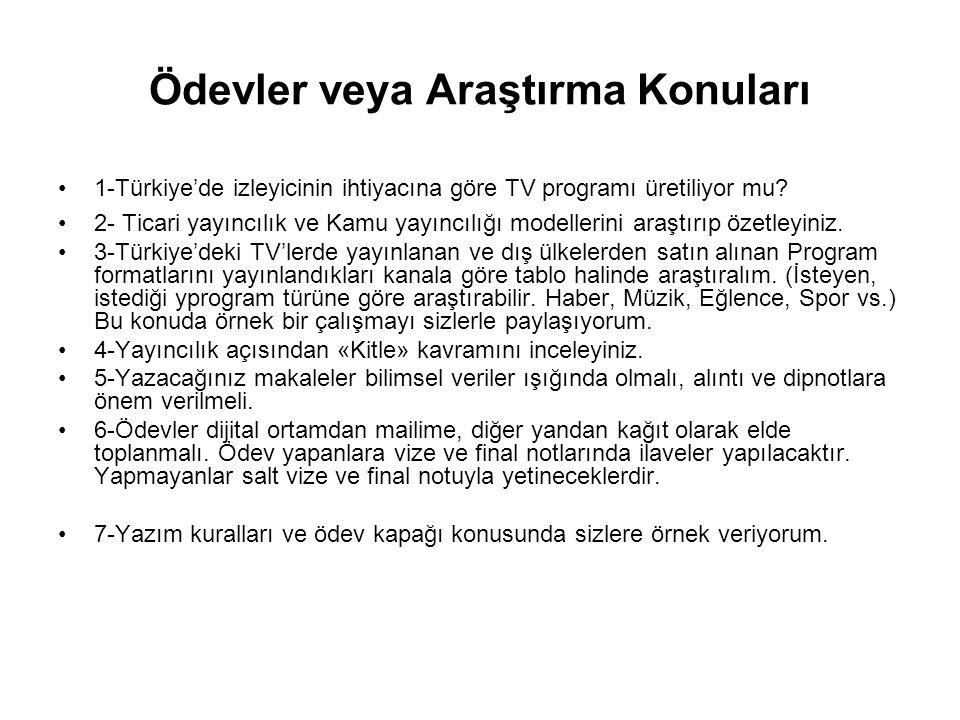 Ödevler veya Araştırma Konuları 1-Türkiye'de izleyicinin ihtiyacına göre TV programı üretiliyor mu? 2- Ticari yayıncılık ve Kamu yayıncılığı modelleri