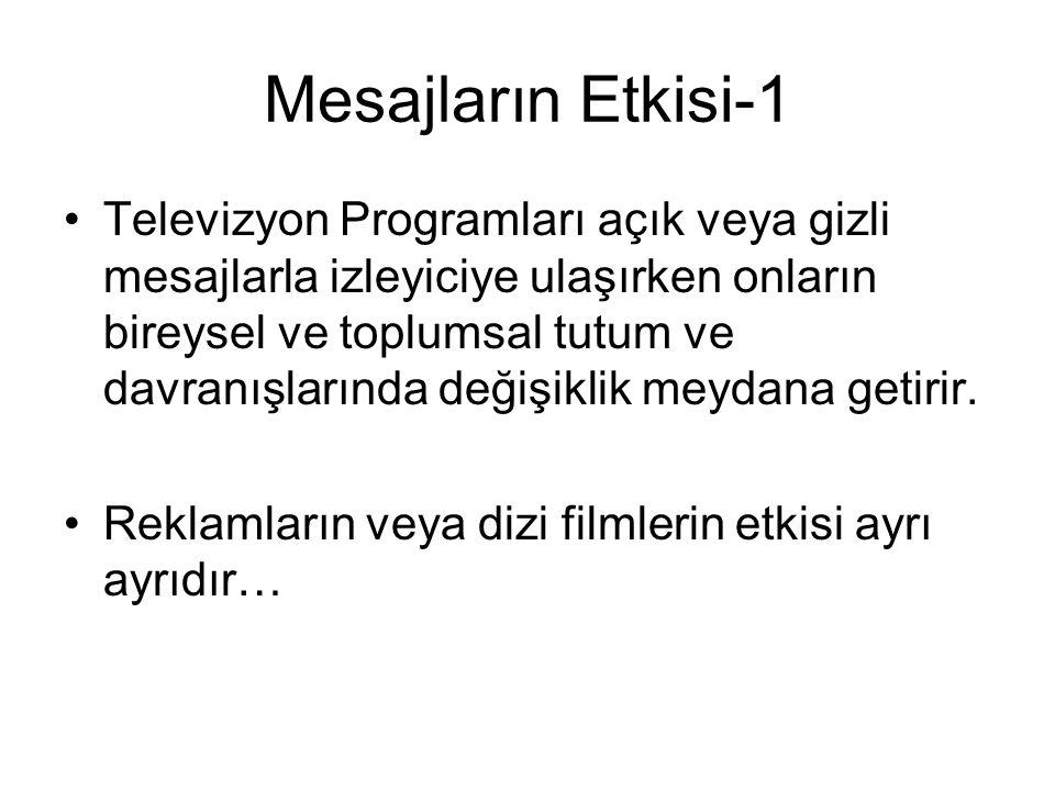 Mesajların Etkisi-1 Televizyon Programları açık veya gizli mesajlarla izleyiciye ulaşırken onların bireysel ve toplumsal tutum ve davranışlarında deği
