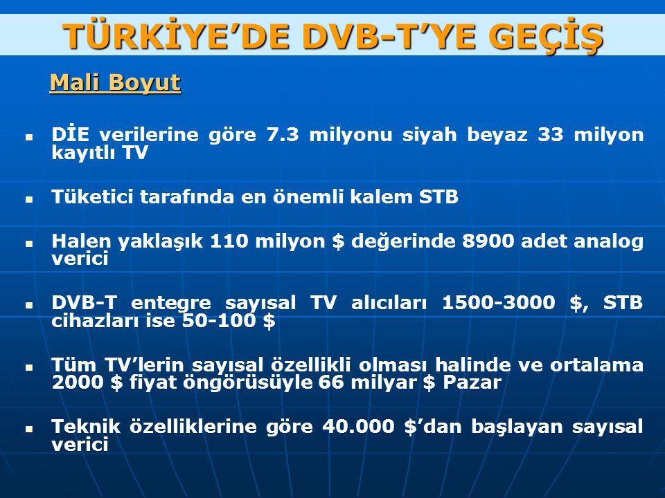Mali Boyut DİE verilerine göre 7.3 milyonu siyah beyaz 33 milyon kayıtlı TV Tüketici tarafında en önemli kalem STB Halen yaklaşık 110 milyon $ değerinde 8900 adet analog verici DVB-T entegre sayısal TV alıcıları 1500-3000 $, STB cihazları ise 50-100 $ Tüm TV'lerin sayısal özellikli olması halinde ve ortalama 2000 $ fiyat öngörüsüyle 66 milyar $ Pazar Teknik özelliklerine göre 40.000 $'dan başlayan sayısal verici TÜRKİYE'DE DVB-T'YE GEÇİŞ