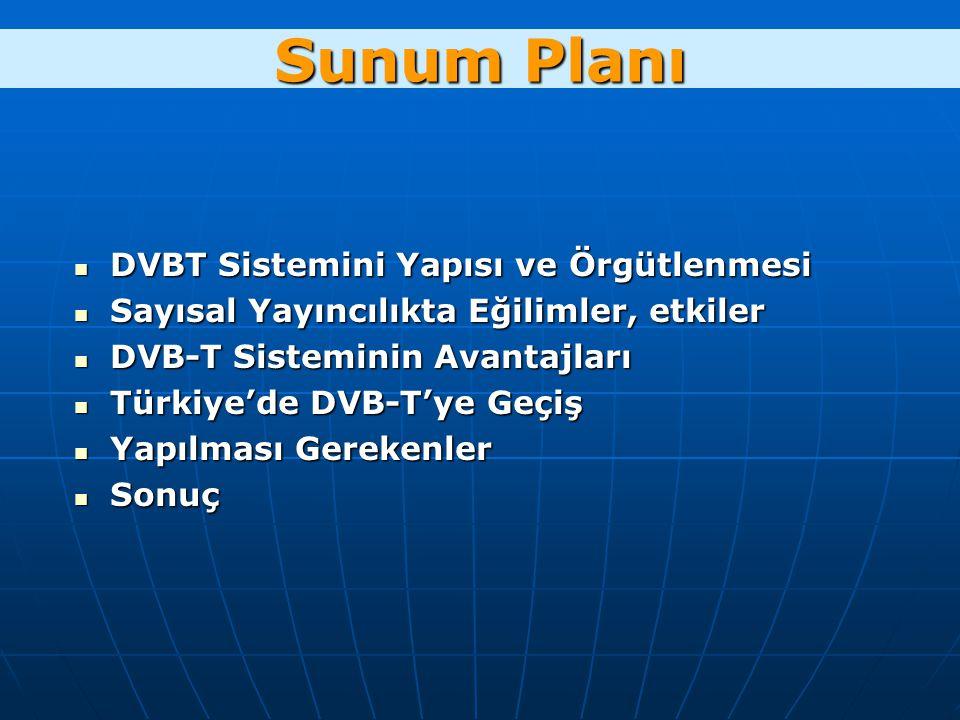 Sunum Planı DVBT Sistemini Yapısı ve Örgütlenmesi DVBT Sistemini Yapısı ve Örgütlenmesi Sayısal Yayıncılıkta Eğilimler, etkiler Sayısal Yayıncılıkta Eğilimler, etkiler DVB-T Sisteminin Avantajları DVB-T Sisteminin Avantajları Türkiye'de DVB-T'ye Geçiş Türkiye'de DVB-T'ye Geçiş Yapılması Gerekenler Yapılması Gerekenler Sonuç Sonuç