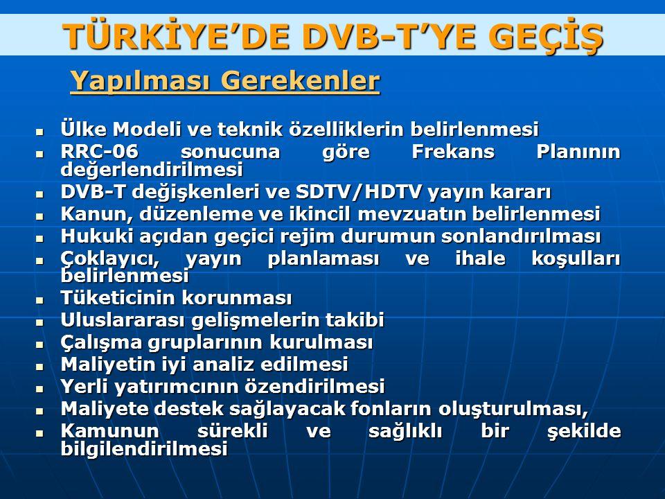 TÜRKİYE'DE DVB-T'YE GEÇİŞ Ülke Modeli ve teknik özelliklerin belirlenmesi Ülke Modeli ve teknik özelliklerin belirlenmesi RRC-06 sonucuna göre Frekans Planının değerlendirilmesi RRC-06 sonucuna göre Frekans Planının değerlendirilmesi DVB-T değişkenleri ve SDTV/HDTV yayın kararı DVB-T değişkenleri ve SDTV/HDTV yayın kararı Kanun, düzenleme ve ikincil mevzuatın belirlenmesi Kanun, düzenleme ve ikincil mevzuatın belirlenmesi Hukuki açıdan geçici rejim durumun sonlandırılması Hukuki açıdan geçici rejim durumun sonlandırılması Çoklayıcı, yayın planlaması ve ihale koşulları belirlenmesi Çoklayıcı, yayın planlaması ve ihale koşulları belirlenmesi Tüketicinin korunması Tüketicinin korunması Uluslararası gelişmelerin takibi Uluslararası gelişmelerin takibi Çalışma gruplarının kurulması Çalışma gruplarının kurulması Maliyetin iyi analiz edilmesi Maliyetin iyi analiz edilmesi Yerli yatırımcının özendirilmesi Yerli yatırımcının özendirilmesi Maliyete destek sağlayacak fonların oluşturulması, Maliyete destek sağlayacak fonların oluşturulması, Kamunun sürekli ve sağlıklı bir şekilde bilgilendirilmesi Kamunun sürekli ve sağlıklı bir şekilde bilgilendirilmesi Yapılması Gerekenler