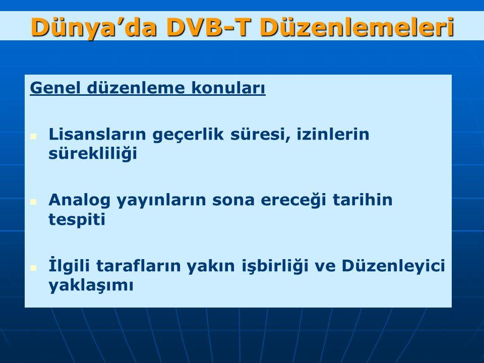 Dünya'da DVB-T Düzenlemeleri Genel düzenleme konuları Lisansların geçerlik süresi, izinlerin sürekliliği Analog yayınların sona ereceği tarihin tespiti İlgili tarafların yakın işbirliği ve Düzenleyici yaklaşımı