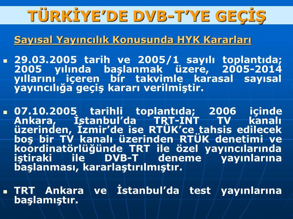 Sayısal Yayıncılık Konusunda HYK Kararları 29.03.2005 tarih ve 2005/1 sayılı toplantıda; 2005 yılında başlanmak üzere, 2005-2014 yıllarını içeren bir takvimle karasal sayısal yayıncılığa geçiş kararı verilmiştir.