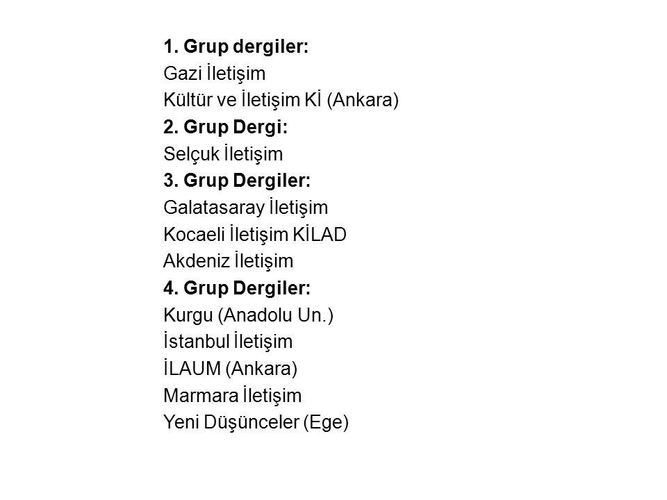 1. Grup dergiler: Gazi İletişim Kültür ve İletişim Kİ (Ankara) 2. Grup Dergi: Selçuk İletişim 3. Grup Dergiler: Galatasaray İletişim Kocaeli İletişim
