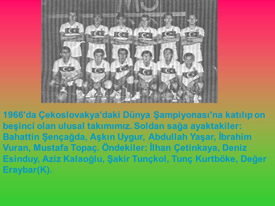 1966'da Çekoslovakya'daki Dünya Şampiyonası'na katılıp on beşinci olan ulusal takımımız. Soldan sağa ayaktakiler: Bahattin Şençağda, Aşkın Uygur, Abdu