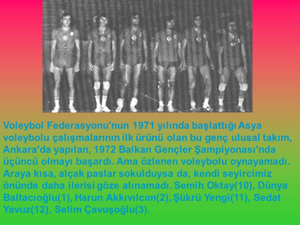 Voleybol Federasyonu'nun 1971 yılında başlattığı Asya voleybolu çalışmalarının ilk ürünü olan bu genç ulusal takım, Ankara'da yapılan, 1972 Balkan Gen