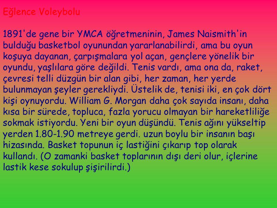 Eğlence Voleybolu 1891 de gene bir YMCA öğretmeninin, James Naismith in bulduğu basketbol oyunundan yararlanabilirdi, ama bu oyun koşuya dayanan, çarpışmalara yol açan, gençlere yönelik bir oyundu, yaşlılara göre değildi.
