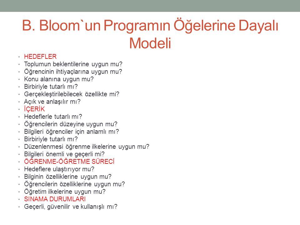 B. Bloom`un Programın Öğelerine Dayalı Modeli HEDEFLER Toplumun beklentilerine uygun mu? Öğrencinin ihtiyaçlarına uygun mu? Konu alanına uygun mu? Bir