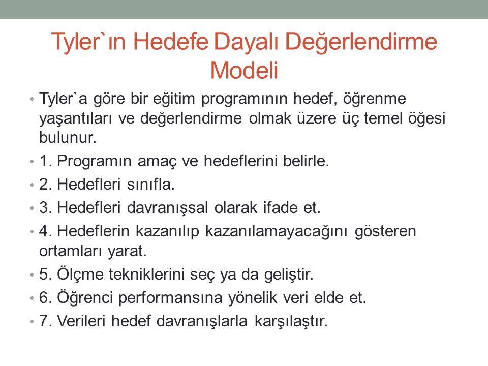 Tyler`ın Hedefe Dayalı Değerlendirme Modeli Tyler`a göre bir eğitim programının hedef, öğrenme yaşantıları ve değerlendirme olmak üzere üç temel öğesi
