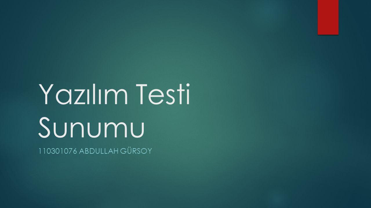 Yapılacak İşlemlerin Sırası  1- Örnek bir metoda test oluşturmak(Unit Test) -Kodu test et  2- Test verilerini ayarlamak(Test Script) - Metodun parametrelerini, ve beklenen sonuçlar  3- TESTİ ÇALIŞTIRMAK  4- Kapsama testini çalıştırmak -Testi test ekmek
