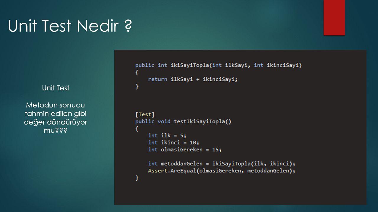 Örnek kod için Unit Test TestDriven.net yüklendiğinde NUnit sağ tıka yerleşiyor.