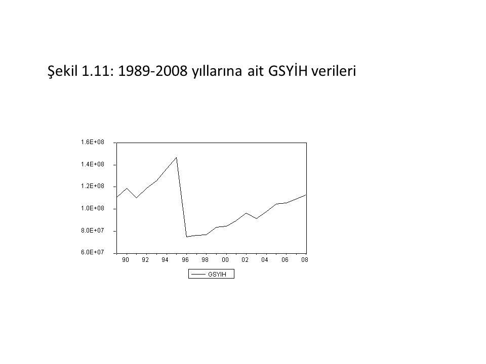 Şekil 1.11: 1989-2008 yıllarına ait GSYİH verileri