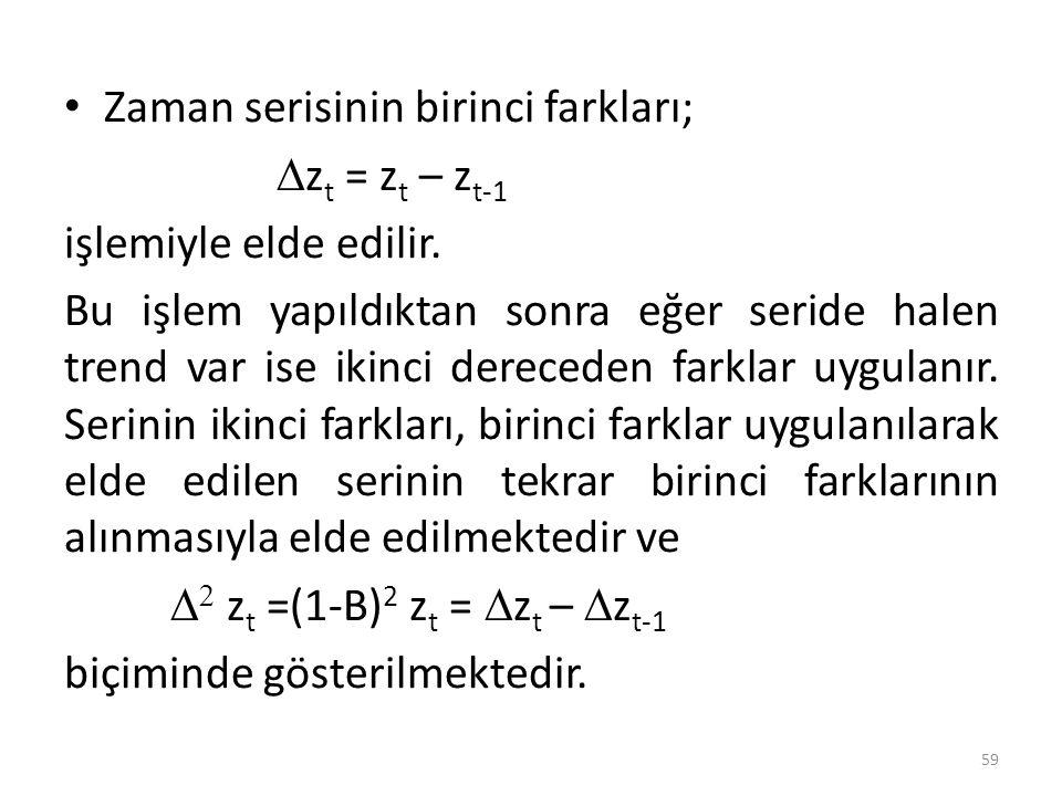 Zaman serisinin birinci farkları;  z t = z t – z t-1 işlemiyle elde edilir. Bu işlem yapıldıktan sonra eğer seride halen trend var ise ikinci dereced