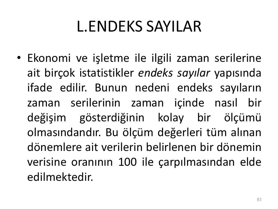 L.ENDEKS SAYILAR Ekonomi ve işletme ile ilgili zaman serilerine ait birçok istatistikler endeks sayılar yapısında ifade edilir. Bunun nedeni endeks sa