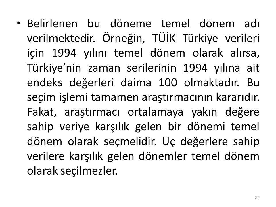 Belirlenen bu döneme temel dönem adı verilmektedir. Örneğin, TÜİK Türkiye verileri için 1994 yılını temel dönem olarak alırsa, Türkiye'nin zaman seril