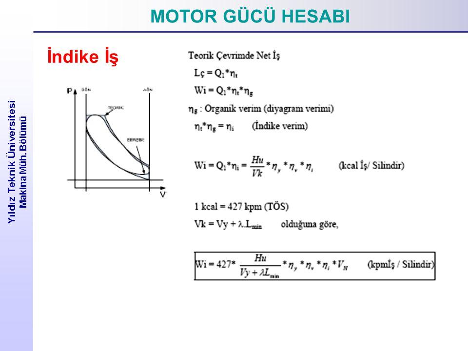 MOTOR GÜCÜ HESABI Yıldız Teknik Üniversitesi Makina Müh. Bölümü İndike İş