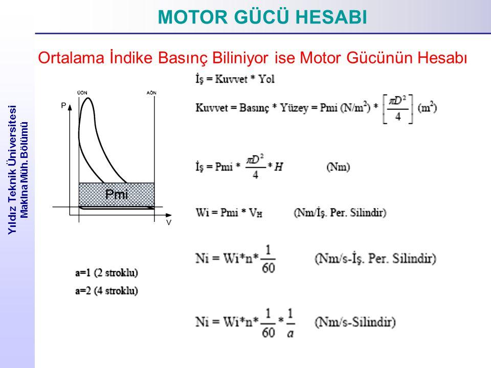 MOTOR GÜCÜ HESABI Yıldız Teknik Üniversitesi Makina Müh. Bölümü Ortalama İndike Basınç Biliniyor ise Motor Gücünün Hesabı