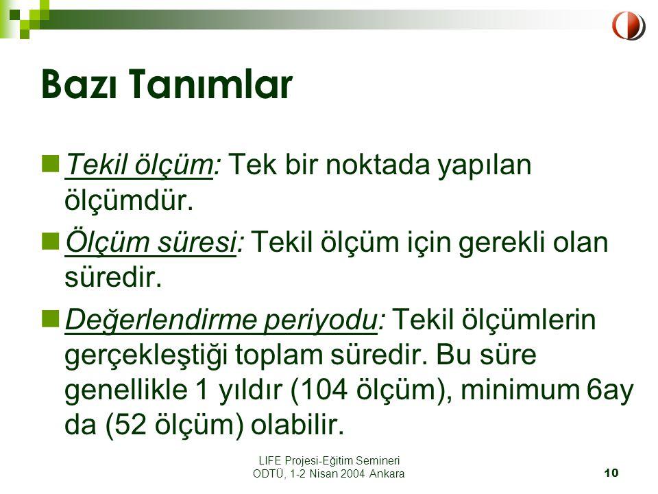 LIFE Projesi-Eğitim Semineri ODTÜ, 1-2 Nisan 2004 Ankara10 Bazı Tanımlar Tekil ölçüm: Tek bir noktada yapılan ölçümdür.