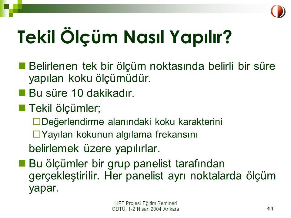 LIFE Projesi-Eğitim Semineri ODTÜ, 1-2 Nisan 2004 Ankara11 Tekil Ölçüm Nasıl Yapılır.