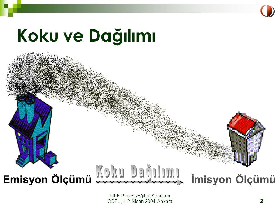 LIFE Projesi-Eğitim Semineri ODTÜ, 1-2 Nisan 2004 Ankara2 Koku ve Dağılımı Emisyon Ölçümüİmisyon Ölçümü