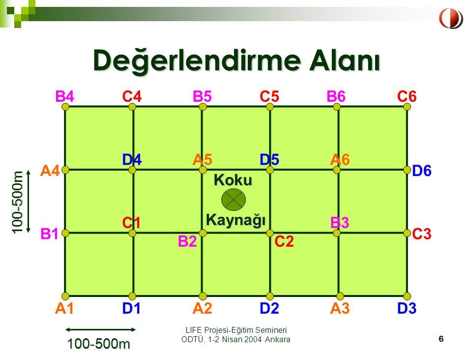 LIFE Projesi-Eğitim Semineri ODTÜ, 1-2 Nisan 2004 Ankara6 Değerlendirme Alanı Koku KokuKaynağı A1 A4 A2 A5 A3 A6 B1 B6B5B4 B3 B2 C1 D1 C4 C3 C2 C5C6 D6 D5D4 D3D2 100-500m 100-500m