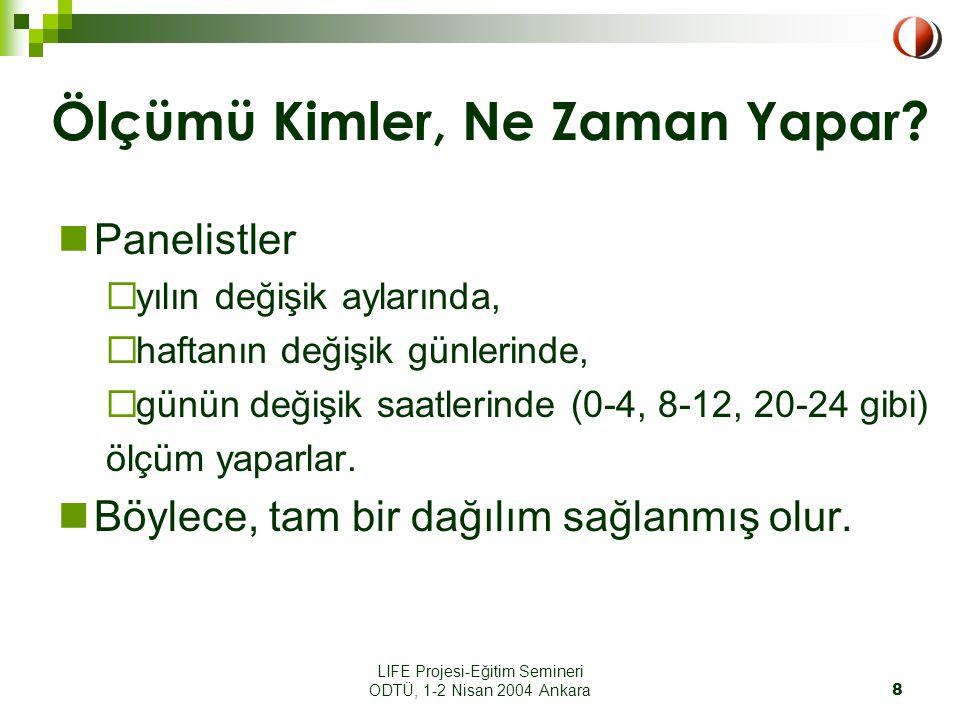 LIFE Projesi-Eğitim Semineri ODTÜ, 1-2 Nisan 2004 Ankara8 Ölçümü Kimler, Ne Zaman Yapar.